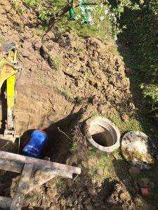 Baggerarbeiten zur Kanalerneuerung